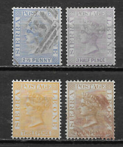 SIERRA LEONE  , 1883/93 , VICTORIA , SET OF 4 STAMPS , PERF , MNG/USED , $12