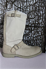 pretty boots zipped leather and fabric off-white OXS size 36 MINT