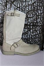 jolies bottes zippées cuir et tissu blanc cassé OXS pointure 36  EXCELLENT ÉTAT