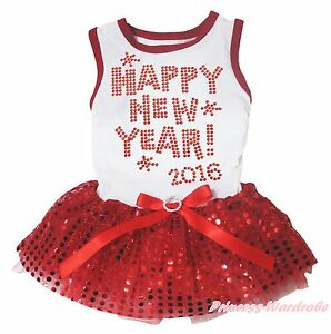 Happy New Year 2016 White Top Red Bling Sequin Gauze Skirt Bow Pet Dog Cat Dress