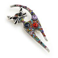 Fashion Vintage Rhinestone Metal Cat Animal Brooch Party Pins Women Jewelry Gift