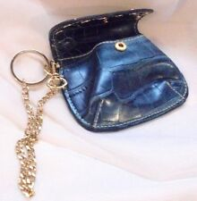 Blue Embossed Leather Kathy Van Zeeland Change Purse and Fob Key Chain Hook