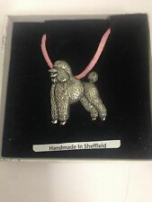 Poodle PP-D18 Dog Pewter Pendant on a PINK CORD Necklace