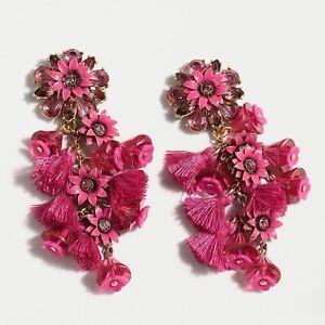 J Crew NWT $65 Bloom Statement Earrings in Soft Fuchsia