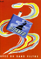 "Reproduction Vintage Cigarette Poster, ""Gitanes"", Home Wall Art"