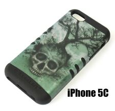For iPhone 5C - HARD & SOFT RUBBER HYBRID HIGH IMPACT SKIN CASE GREEN SKULL TREE