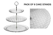3 Tier Glass Cake Stand Afternoon Tea Serving Platter High Quality Embossed x 6