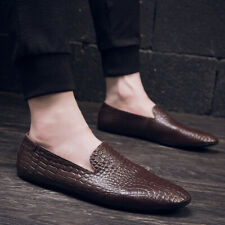 Mens Gommino Alligator Pattern Driving Loafers Slip on Flat Outdoor Shoes Chic