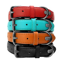 Genuine Leather Pet Dog Collar Soft Padded for Small Large Dogs Labrador Boxer
