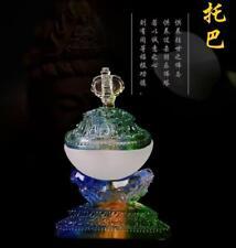 Tibet Buddhist Mikky Gabbra Kapala Cup Divine Ritual Statue LIULI Glass Colorful