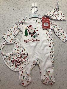 BABY GIRL BOY XMAS SLEEPSUIT BIB HAT 3-6 MONTHS BNWT MINICLUB FIRST CHRISTMAS