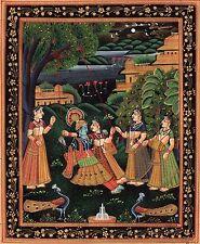 Krishna Radha Modern Decor Art Handmade Indian Hindu Religion Miniature Painting