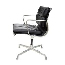 Eames Soft Pad Chair in Black Leather Herman Miller Management Aluminum Group