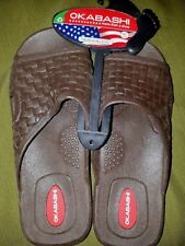 New Okabashi Mens ML (7-8) Torino Sturdy Brown Slide Sandals w/ Arch Support