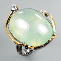 Handmade SET30ct+ Natural Prehnite 925 Sterling Silver Ring Size 8/R122521