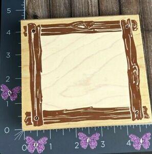 Rubber Stampede Rustic Wooden Frame Border Posh Impressions Large #AB98