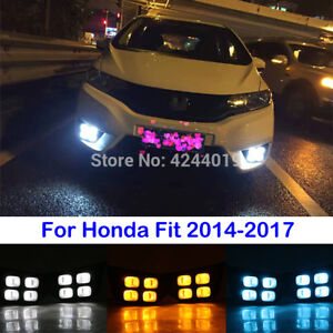 LED DRL Daytime Running Lights Yellow Turn Signal For Honda Fit 2014-2017