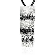 Big Square Leather Chain Long Pendant Necklace Women Jewelry White Gold Plated