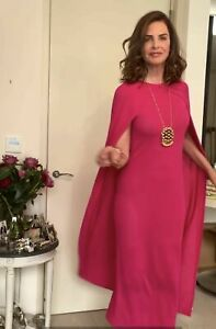 ZARA LONG DRESS WITH CAPE KNIT FUCHSIA LIMITED EDITION NEW SIZE L REF. 0014/042