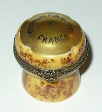 LIMOGES BOX~ CHAMART ~ FRENCH CHAMPAGNE CORK & FLUTE INSIDE ~ GRAPES ~PEINT MAIN