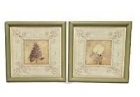 Home Interiors 2 Floral Picture Set Lilac & Iris Green Wood Framed Kathryn White