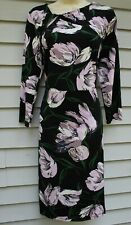 NWT Ann Taylor Black Print 3/4 Sleeve Twist Neck Dress 6