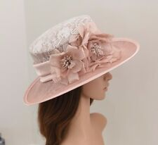 "Kentucky Derby Church Wedding Carriage silk Flower Sinamay 4"" Brim hat Dark Pink"