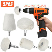5x Cotton Car Motorcycle Polishing Buffing Pads Wheel Kit Set for Rotary Drill