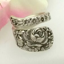 Sterling Silver Rose Spoon Ring ROSE FLORAL,Petite Demi Silverware Jewelry
