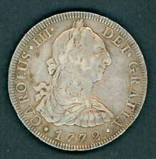 1772 Inverted FM Spanish Mexico Silver 8 Reales Coin