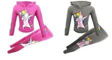 Nuevo Chicos Chicas unicornio frotándose Verano Disfraz Top & Leggings Rosa Gris