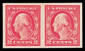 Scott 482 1916 2c Washington Type I Imperf Issue Mint Pair VF OG NH Cat $5.50