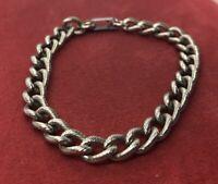 "Vintage Bracelet 7.5"" Silver Tone Chain"