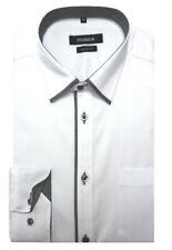 HUBER Business Herren Hemd weiss Kontrast grau Regular Fit HU-0100 Made in EU