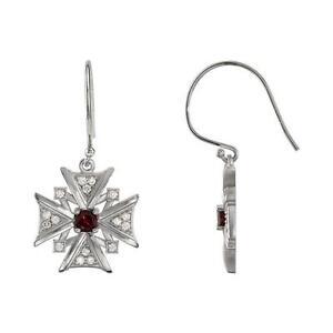14k White Gold Mozambique Garnet and Diamond Vintage Style Cross Earrings