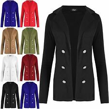 Womens Military Button Collared Open Blazer Ladies Long Sleeve Waistcoat Jacket
