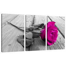 Set of Three Panel Pink Floral Canvas Wall Art Pictures Flowers 3036