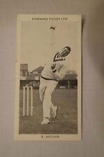1953 - Vintage - Morning Foods Ltd. - Cricket Card - R.G. Archer - Queensland.