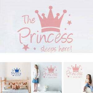 Princess Crown Wall Sticker Decal Mural Wallpaper Baby Kids Room Lovely Decors