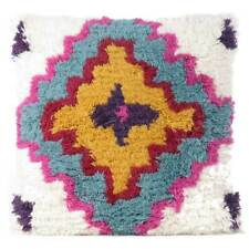 """20"""" Pink Blue Decorative Woven Tufted Wool Embroidered on Cotton Pillow Cushion"""