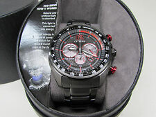 NEW Citizen Eco Drive CA4195-51E Stainless Steel Red Solar Chrono Watch 1091