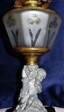 Antique Pedestal Banquet Oil Lamp Wheel Cut Glass Font Figural Cherub Stem