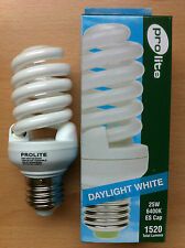 25w Watt ES E27 Screw in Energy Saving Spiral CFL Daylight 6400k Bulb X 2