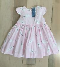 Jacadi Baby Girl Dress Pink 24 Months 88cm Button Down Sleeveless Cotton