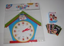 LEARN TO TELL THE TIME CLOCK  + NUMBERS 26 CARDS CHILDREN'S EDUCATIONAL LEARNING