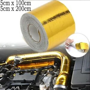 Gold Thermal Exhaust Tape Air Intake Heat Insulation Shield Wrap Reflective 2021