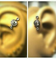 Triple Forward Cartilage Tragus Helix Stud 18g 16g Stud Earring Jewelry Piercing