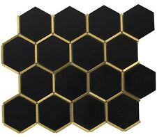 3 Sheets Natural Stone Inlay Brass Gold Hexagon Black Tiles