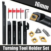 Lathe Tools Boring Bar Turning Tool Holder+Carbide Inserts +5x Wrenches 16mm Kit