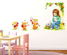 57000237 Wall Stickers Baby Girl Cartoon Under Tree with Teddy Bears For Kids